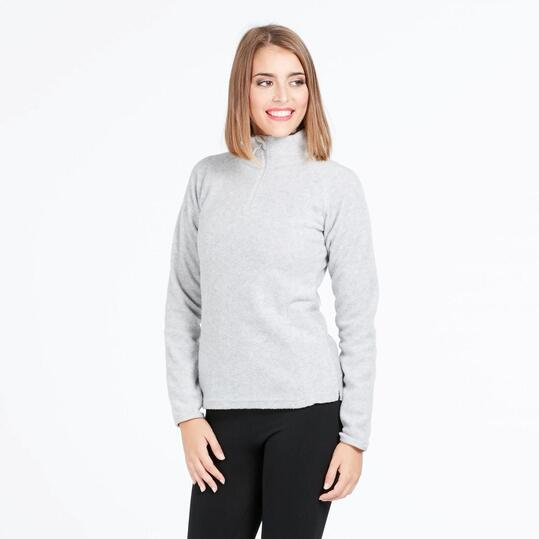 Forro Polar UP BASIC Cuello Zip Gris Mujer