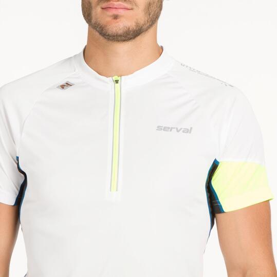 Camiseta Zip SERVAL SPEED HIKING Blanca Hombre