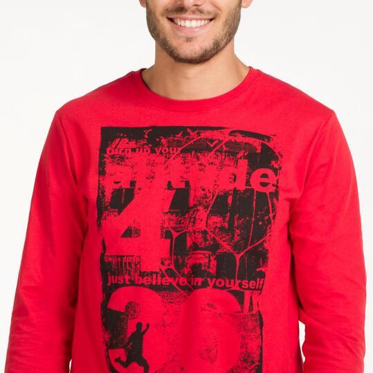Camiseta Manga Larga UP STAMPS Roja Hombre