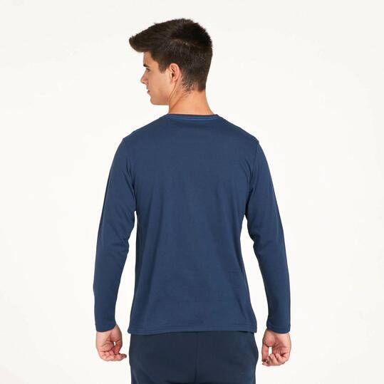 Camiseta Manga Larga UP STAMPS Estampado Azul Marino Hombre