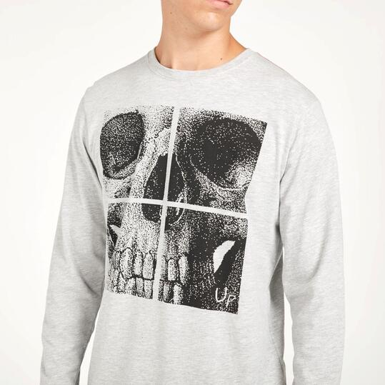 Camiseta Manga Larga UP STAMPS Calavera Gris Hombre