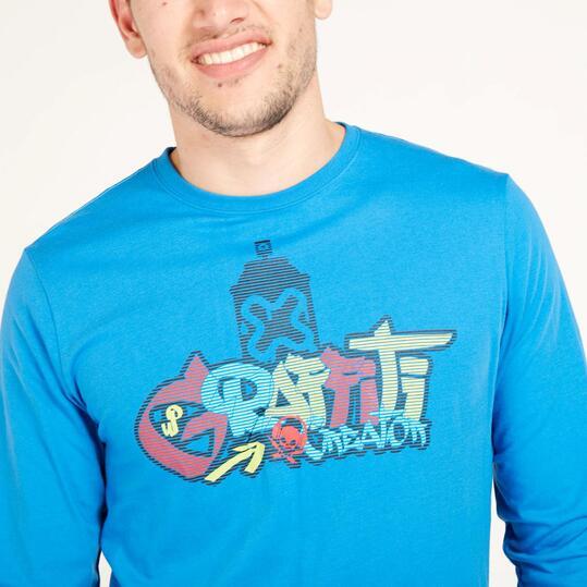 Camiseta Manga Larga UP STAMPS Graffiti Azul Hombre