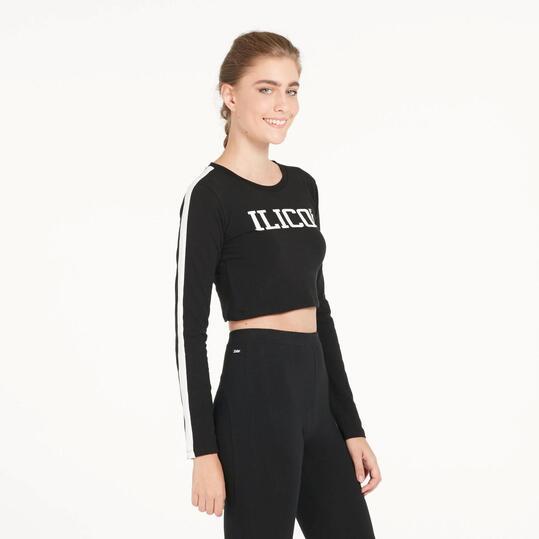 Camiseta Crop Top ILICO Negra Mujer