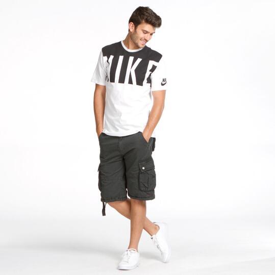 NIKE Camiseta Blanca Negra Hombre
