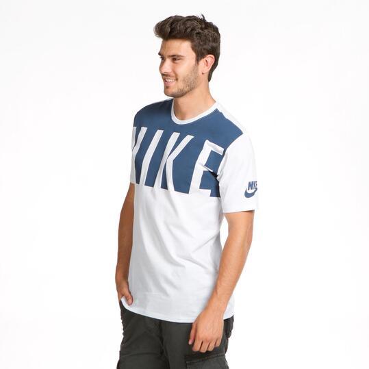 NIKE Camiseta Blanca Azul Hombre