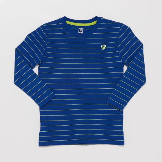 Camiseta Manga Larga Rayas UP BASIC Azul Pistacho Niño (2-8)