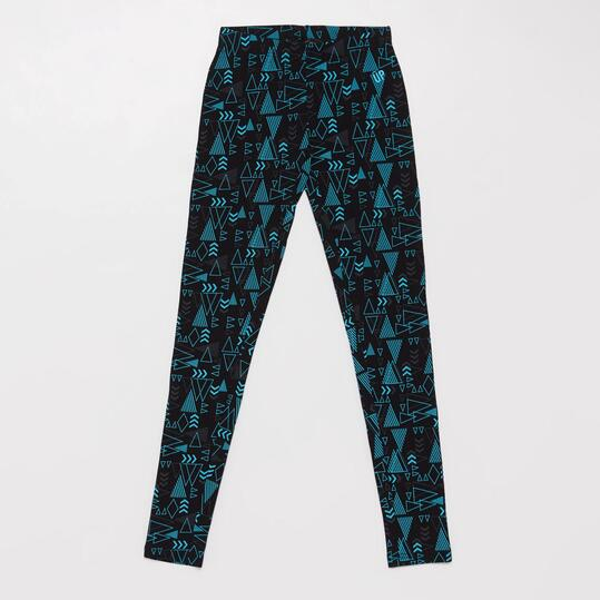 Leggins Estampados UP BASIC Negro Turquesa Niña (10-16)