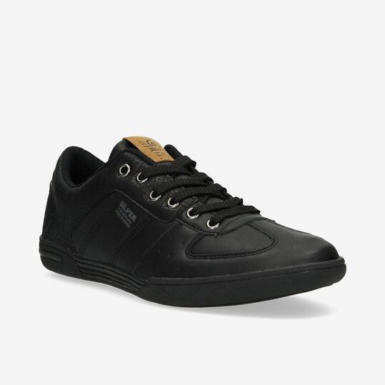 Zapatillas Casual SILVER Cuero Negro Hombre
