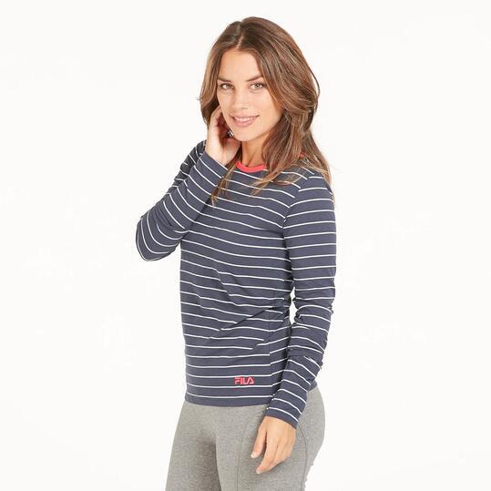 FILA Camiseta Rayas Marino Mujer