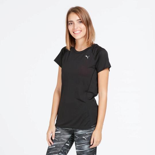 PUMA Camiseta Running Manga Corta Negro Mujer