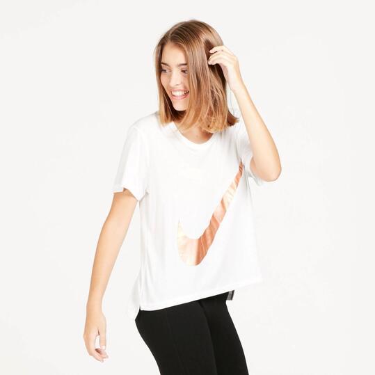 NIKE Camiseta Holgada Blanca Mujer