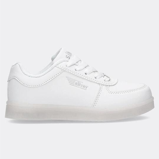 Zapatillas Luces Blancas Niño Silver