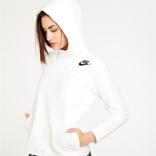 NIKE Sudadera Capucha Blanco Mujer
