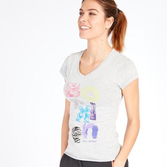 Camiseta Manga Corta BORIKEN Gris Mujer