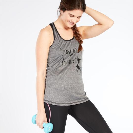 Camiseta Fitness ILICO BRONCE Gris Mujer