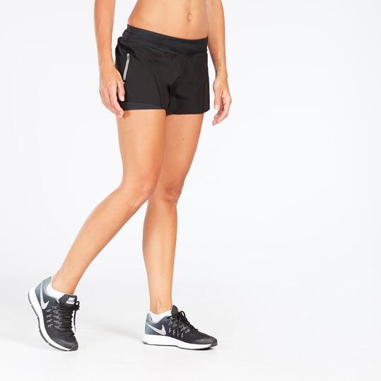 Pantalón Corto Running con Malla Negro Mujer Ipso