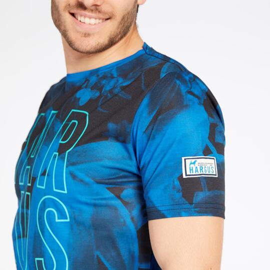 Camiseta Hargus Negra Azul Hombre