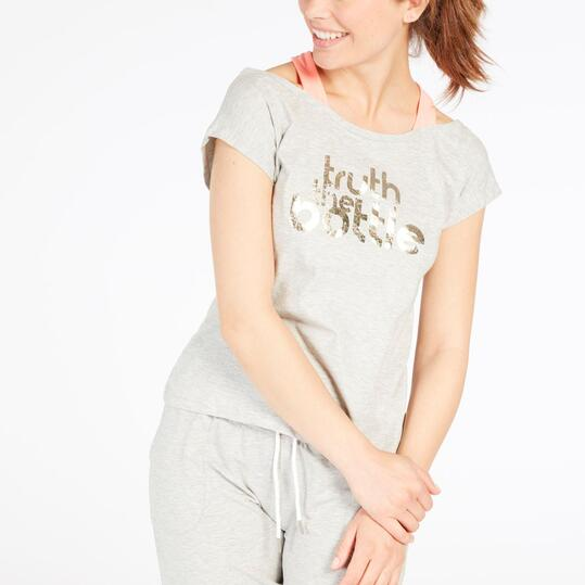 Camiseta Doble SILVER Gris Coral Mujer