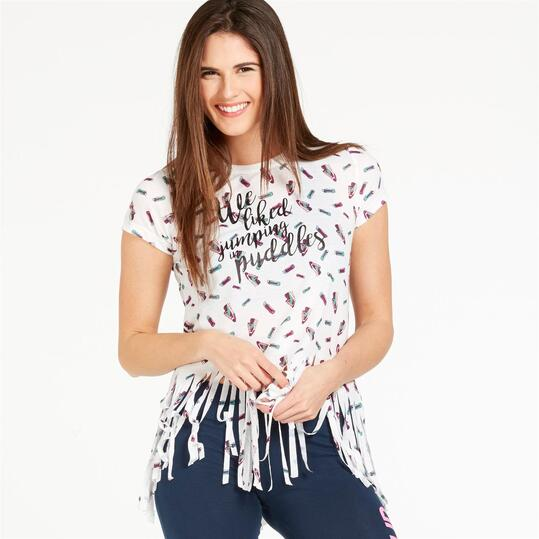 Camiseta Flecos SILVER STAMPS Blanco Mujer