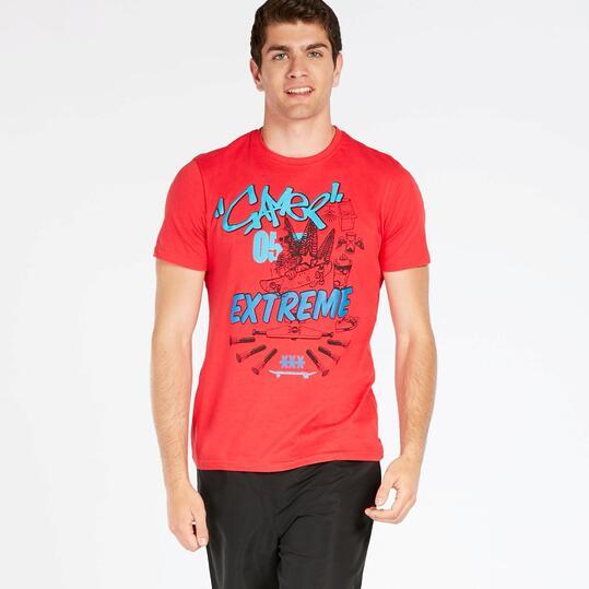 Camiseta Roja Up Stamps Hombre