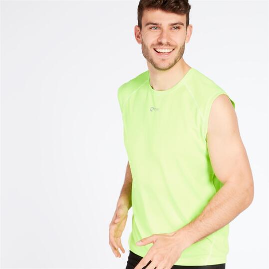 Camiseta Running Ipso Basic Verde Flúor Hombre