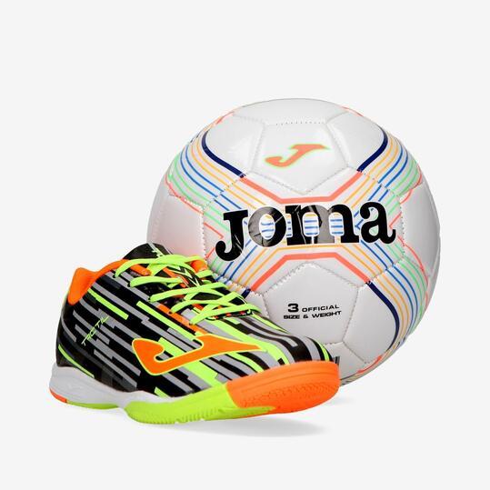 Pack JOMA TACTIL Botas Fútbol Sala Negro Niño (36-38) + Balón