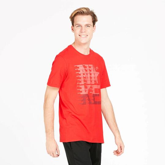 NIKE STRIPES Camiseta Manga Corta Roja Hombre