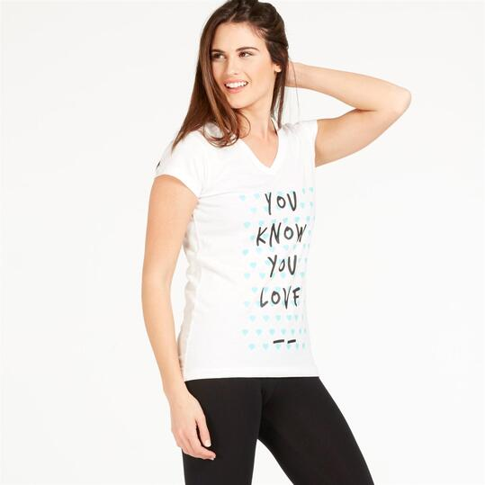 Camiseta UP STAMPS Blanco Mujer