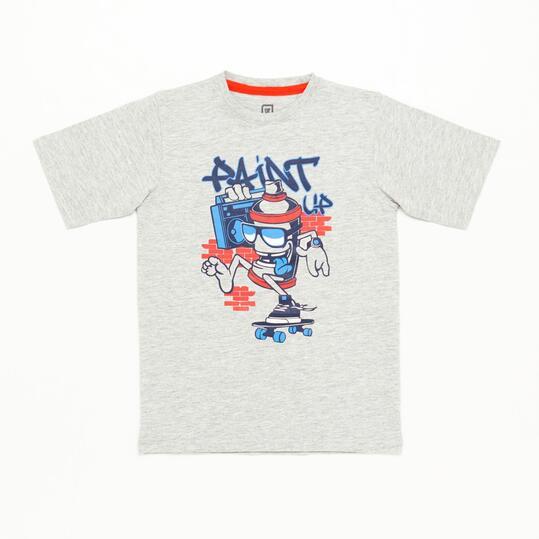 Camiseta Graffiti Up Stamps Gris Niño (10-16)