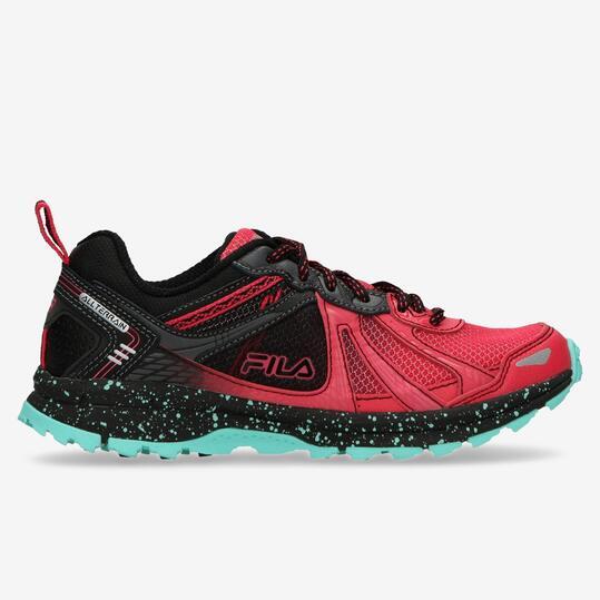 FILA Zapatillas Trail Negro Rojo Mujer