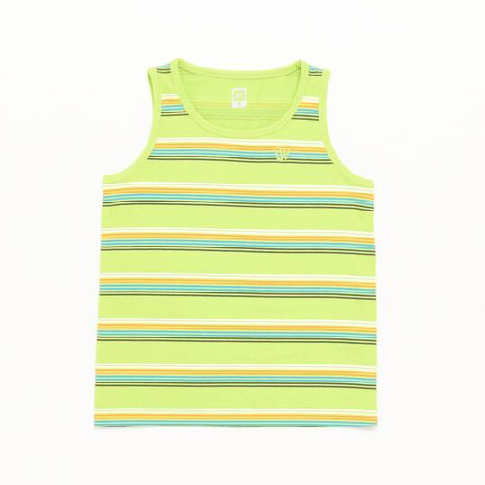 Camiseta Tirante Ancho Up Basic Rayas Verde Niño (2-8)