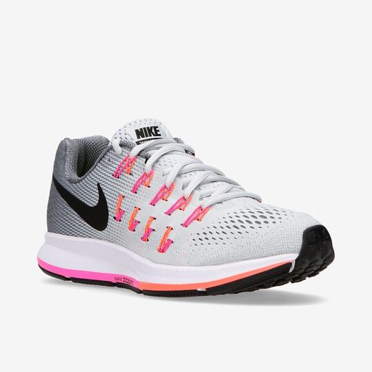 Zapatillas Running Nike Air Zoom Pegasus 33 Blanco Gris Mujer