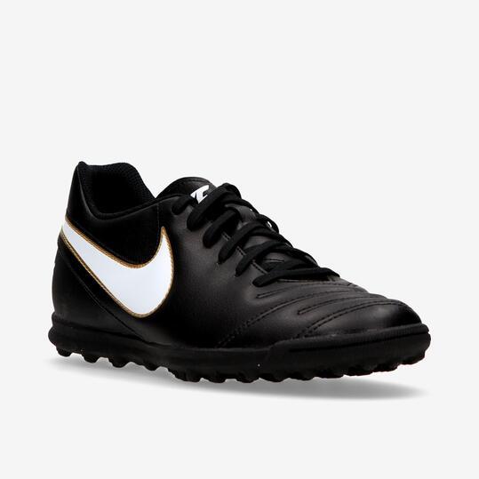 Botas Fútbol Turf Nike Tiempo Rio Negras Hombre