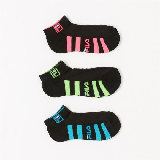 FILA Pack 3 Calcetines Invisibles Negro Niña
