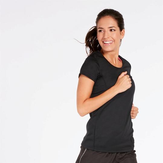 Camiseta Running Negra Mujer Ipso