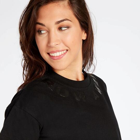Camiseta Crop Negra Mujer Silver Avance