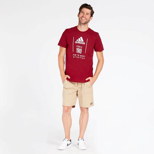 camiseta adidas granate hombre