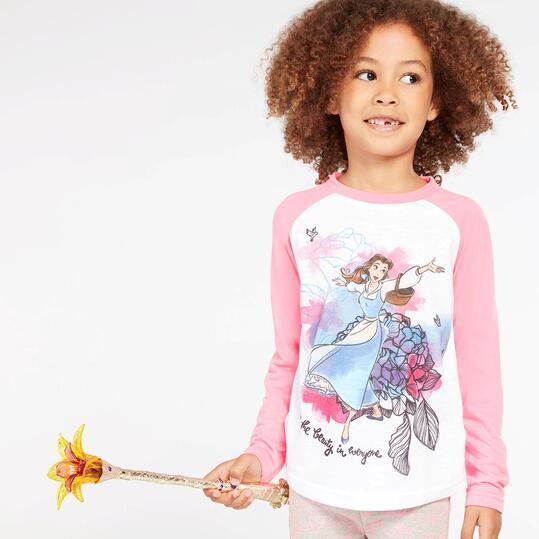 Camiseta Bella Blanca Fucsia Niña (2-8)