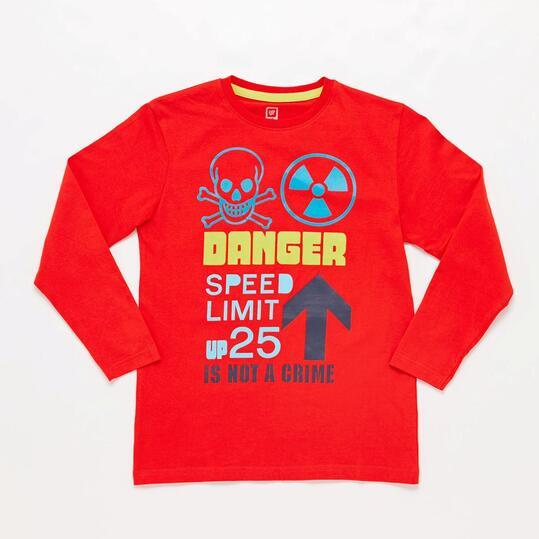 Camiseta Manga Larga Roja Danfer Junior Up Stamps