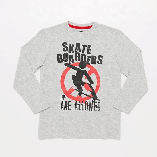 Camiseta Manga Larga Gris Skate Junior Up Basic