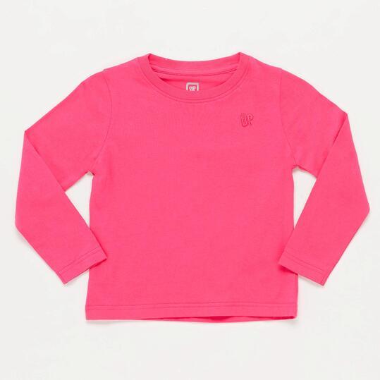 Camiseta Manga Larga Rosa Niña Up