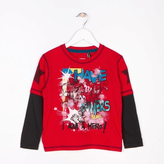 SILVER Camiseta Manga Larga Rojo Niño