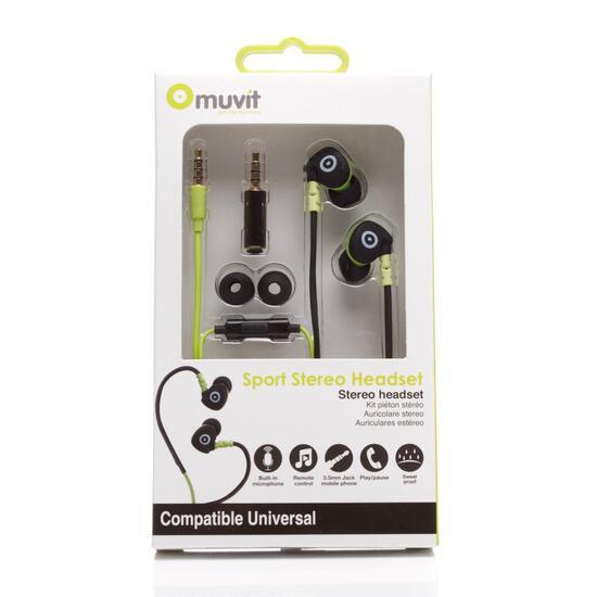 MUVIT Auriculares Estéreo Running Negro Verde