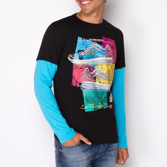 Camiseta Manga Larga SILVER STAMPS Negro Azul Hombre