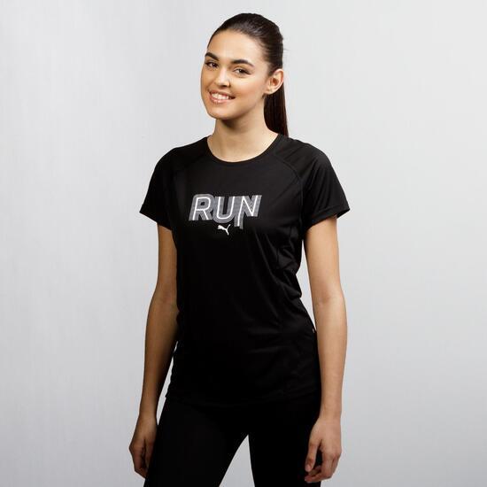 PUMA Camiseta Running Negra Mujer