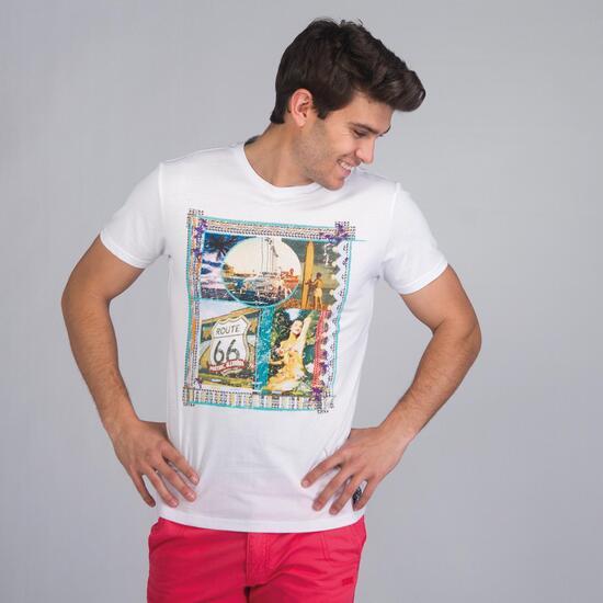 Camiseta Manga Corta TRUNK & ROOTS Blanco Hombre