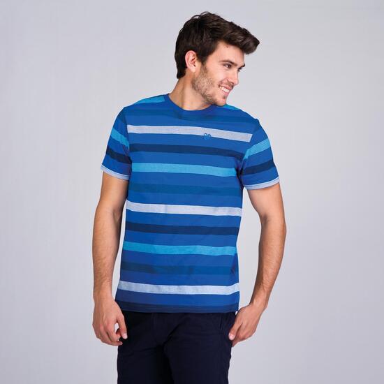Camiseta Rayas UP BASIC Azul Hombre