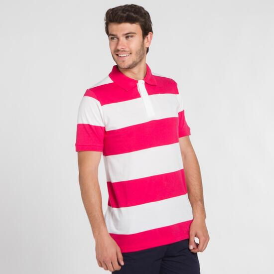 Polo Rayas UP BASIC Blanco Coral Hombre