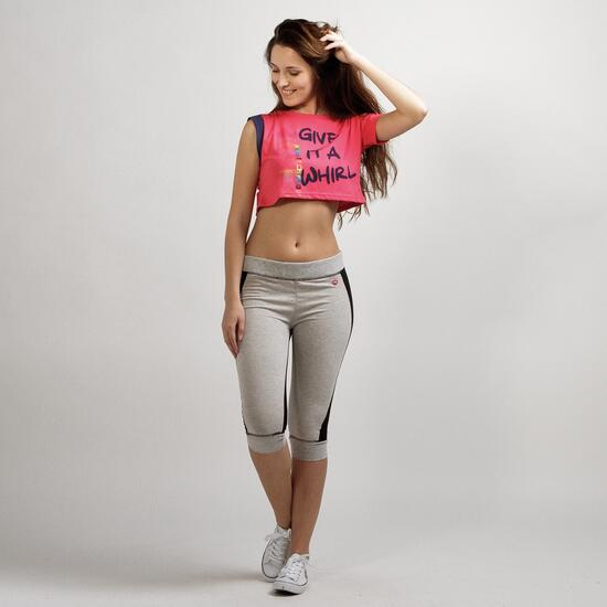 Camiseta Casual UP STAMPS Fucsia Mujer