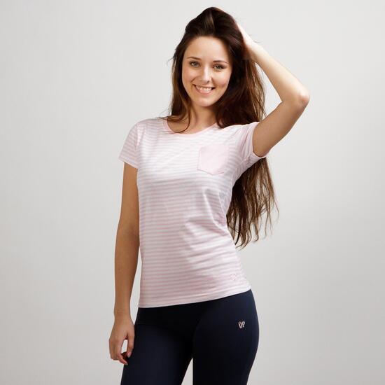 Camiseta Rayas UP BASIC Rosa Mujer